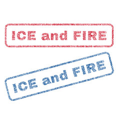 Ice and fire textile stamps vector
