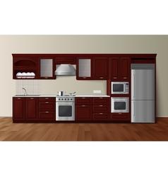 Luxury Kitchen Dark Realistic Interior Image vector image vector image