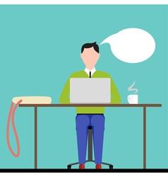 Man Sitting Behind Laptop vector image