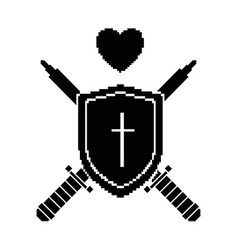 pixelated shield with sword and heart game icon vector image vector image