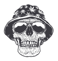 rasta skull in hat and sunglasses vector image vector image