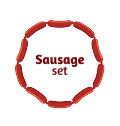 sausages flat set bacon meat barbecue label for vector image vector image