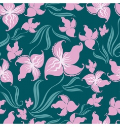 seamless vintage floral pattern with orchid vector image vector image
