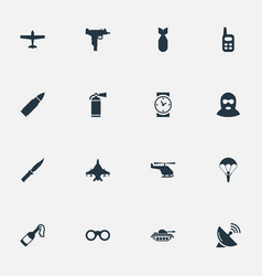 Set of 16 simple military icons can be found such vector