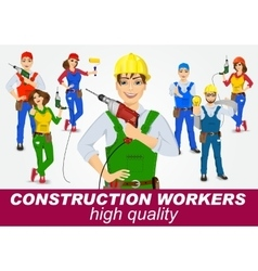 Set of handymen and handywomen with drills vector
