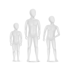 Set of Three Child Mannequins Isolated on White vector image vector image