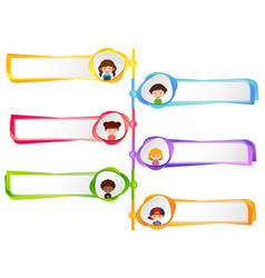 Six labels with happy kids vector