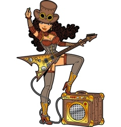 Steampunk With Guitar vector image vector image