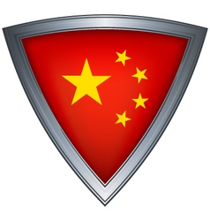 steel shield with flag china vector image vector image