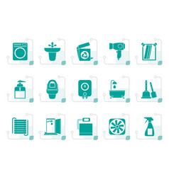 Stylized bathroom and toilet objects and icons vector
