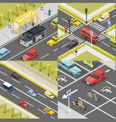 Town traffic square banners vector