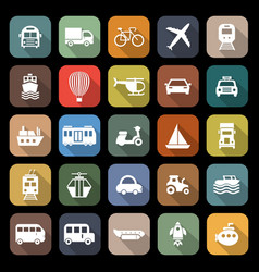 Transportation flat icons with long shadow vector