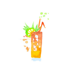 tropical cocktail colorful hand drawn watercolor vector image vector image