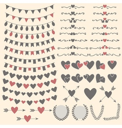 Wedding set of hearts arrows garlands laurel vector