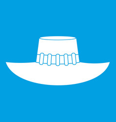 Woman hat icon white vector