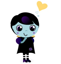 Cute Valentine Vampire boy thinking about love vector image