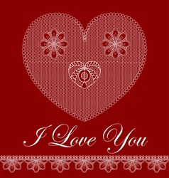 Valentine card with lace heart vector image
