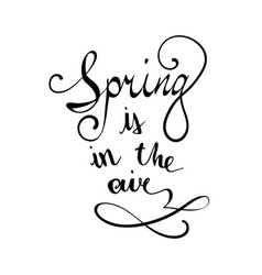 hand lettered typography poster spring is vector image