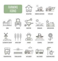 Farming icons set of pictogram vector
