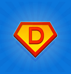 Superhero logo icon with letter d on blue vector