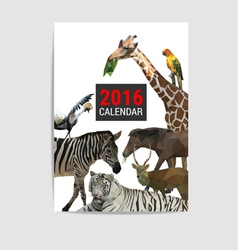 2016 calendar cover animal polygon vector