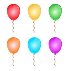 Color glossy balloons on white vector image