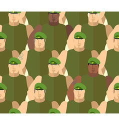 Soldiers in green berets special forces army vector