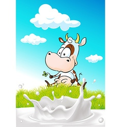 Cute cow sitting on green grass with milk splash - vector