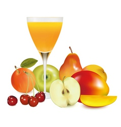 Group of fruit with glass vector