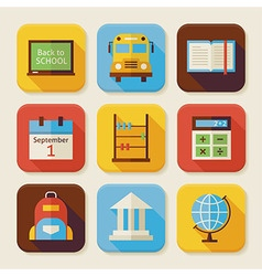 Flat back to school squared app icons set vector