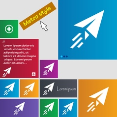 Paper airplane icon sign buttons modern interface vector
