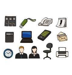 Office doodle icon set vector