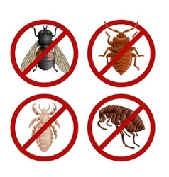 Set of disable signs with pest insects vector
