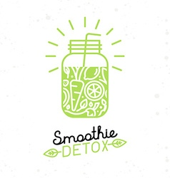 Smoothie detox poster in trendy linear flat style vector