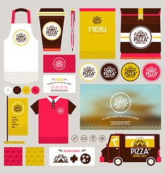 Concept for pizzeria identity mock up template vector