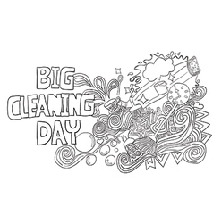 Cartoon hand drawn doodle big cleaning day vector
