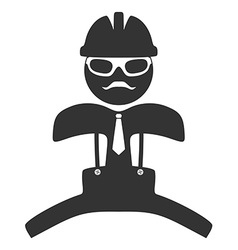 Hipster engineer is jumping pictograph isolated on vector