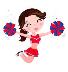 Jumping cheerleader girl vector