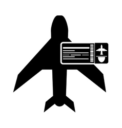 Airplane and boarding pass icon vector