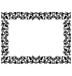 Black and white floral elements on blank frame vector
