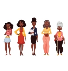 Black women of different ages from youth to vector