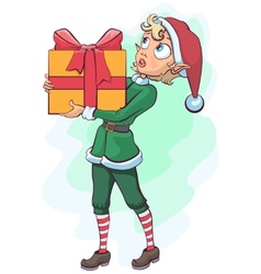 Christmas elf delivers a box with a gift vector image vector image