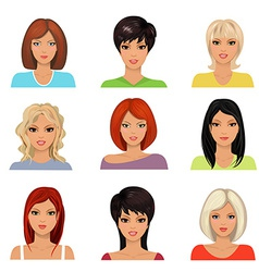 collection of portraits a beautiful young women vector image