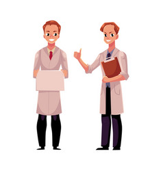 Doctors in medical coats holding blank sign vector