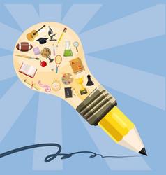 Education concept lamp pencil cartoon style vector