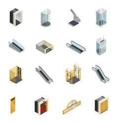Elevator isometric elements set vector