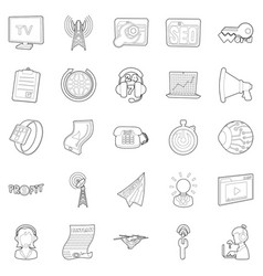 Field of activity icons set outline style vector