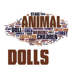 Find animal dolls for your child text background vector