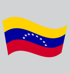 Flag of venezuela waving on gray background vector