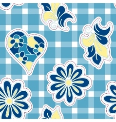 Floral background with hand drawn folk flowers vector